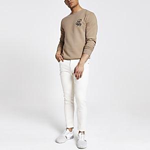 R96 - Kiezelkleurig slim-fit sweatshirt