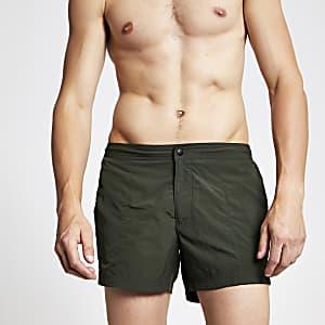 Khaki green smart swim shorts