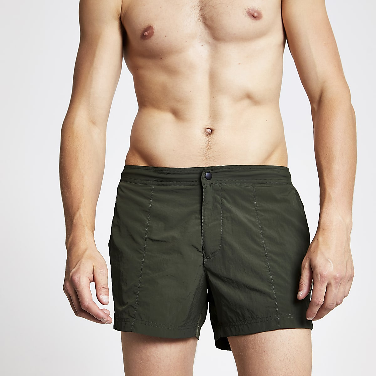 Khaki green smart swim shorts