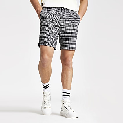 Black check skinny chino shorts