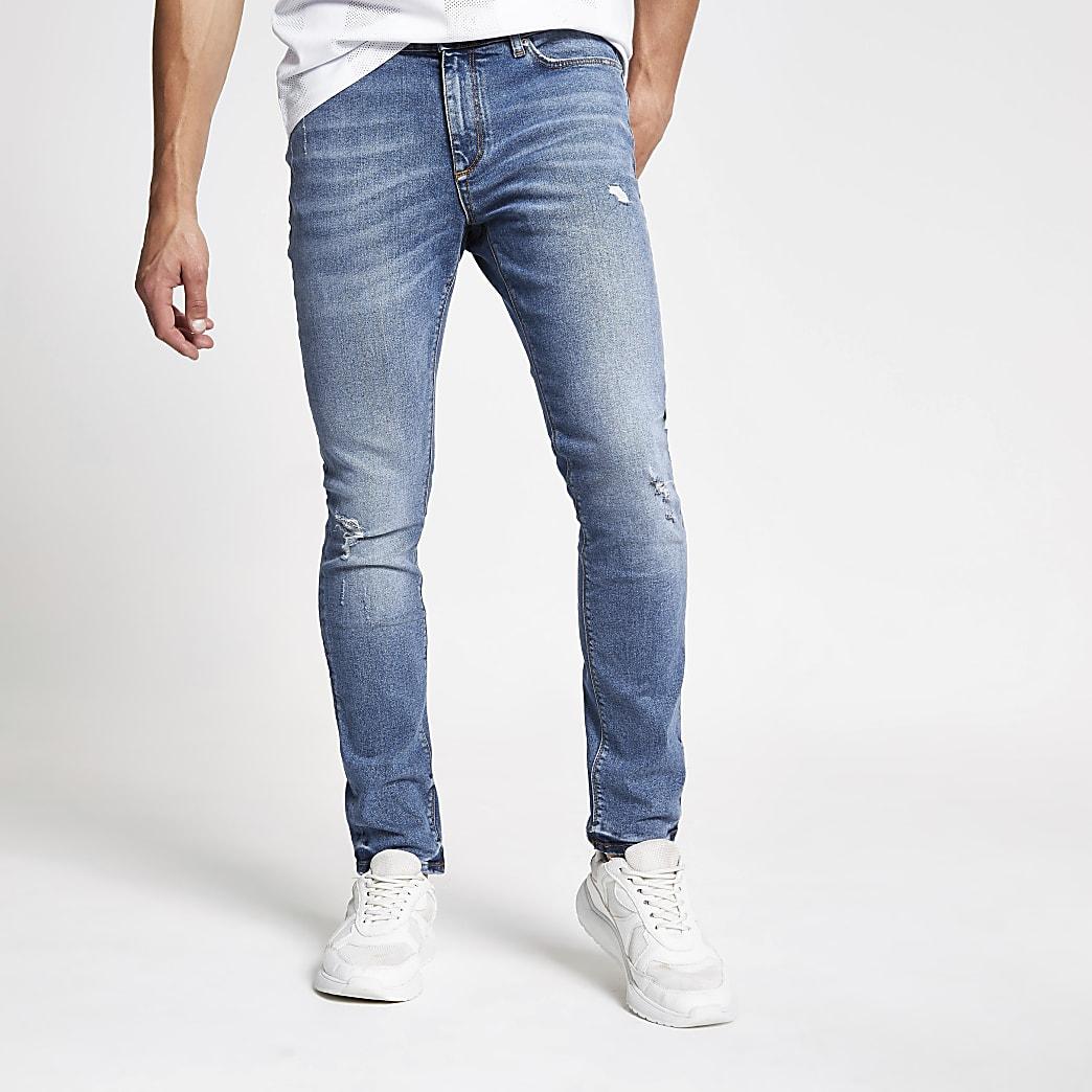 Sid - Middenblauwe skinny distressed jeans