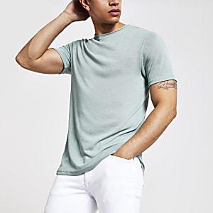 Lichtgroen slim-fit T-shirt