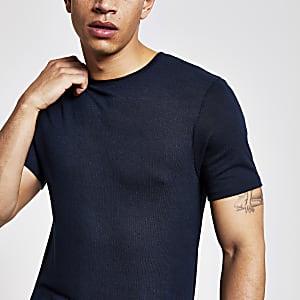 Marineblauw slim-fit T-shirt