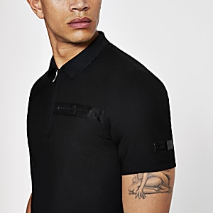 Black zip up slim fit polo shirt