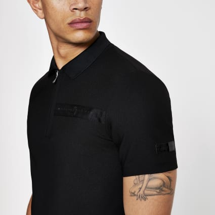 Black zip up slim fit polo shirt
