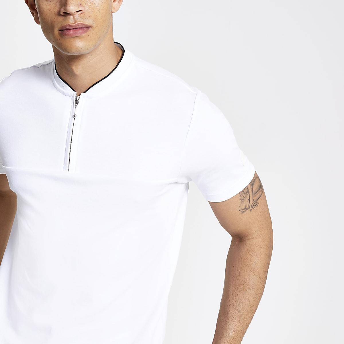 White zip neck slim fit polo shirt
