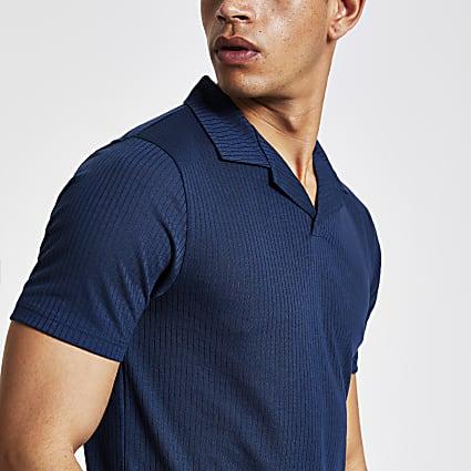 Navy slim fit revere polo shirt