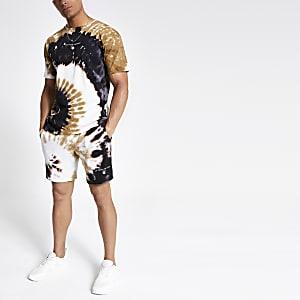 Dunkelgrünes Oversized-T-Shirt in Batikoptik