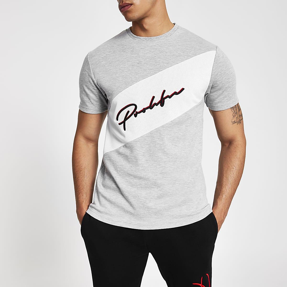 Grey 'Prolific' block slim fit T-shirt
