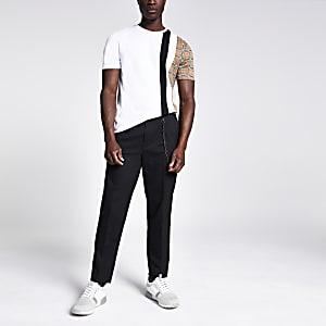 T-shirt slim blanc avec bande à carreaux