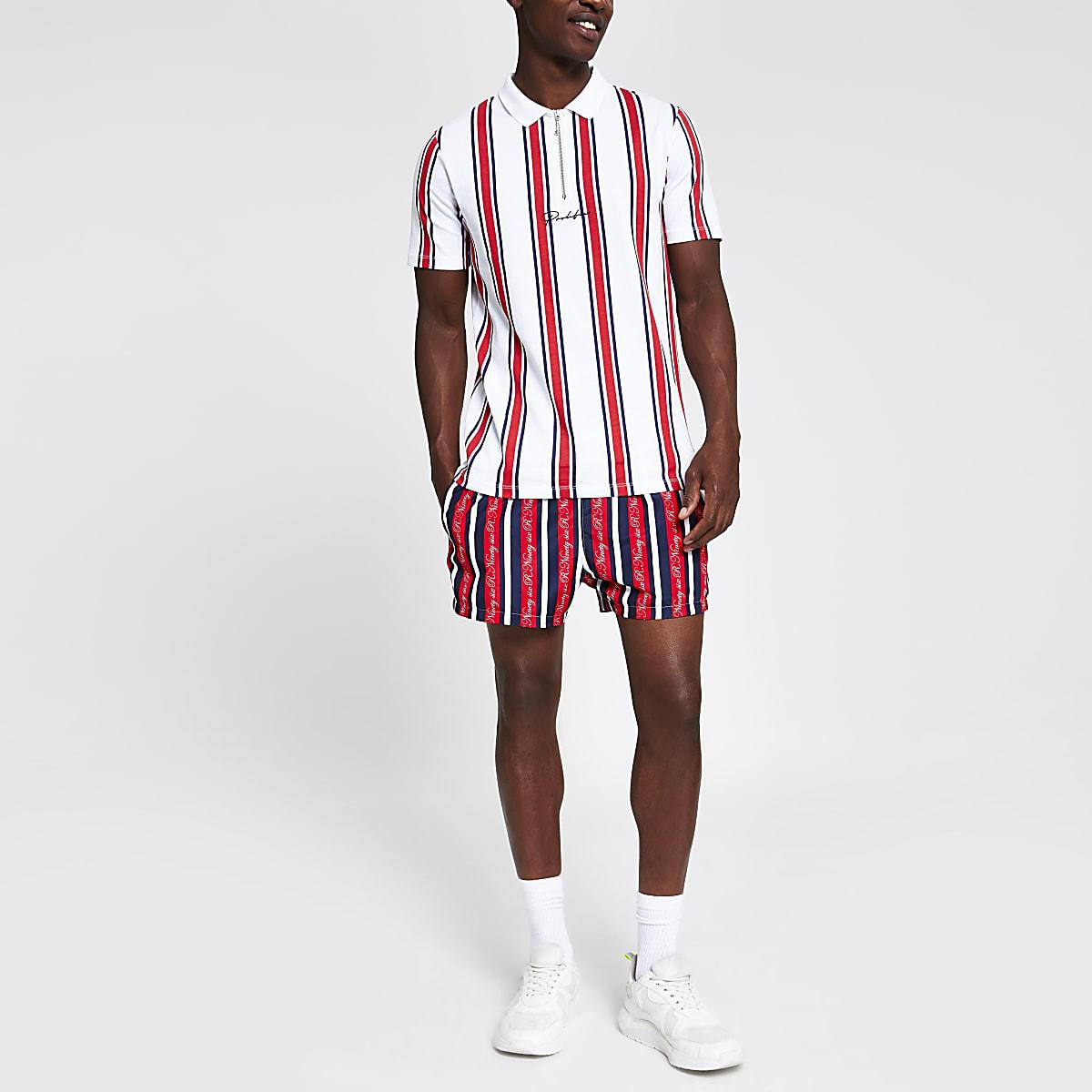 White slim fit Prolific stripe polo shirt