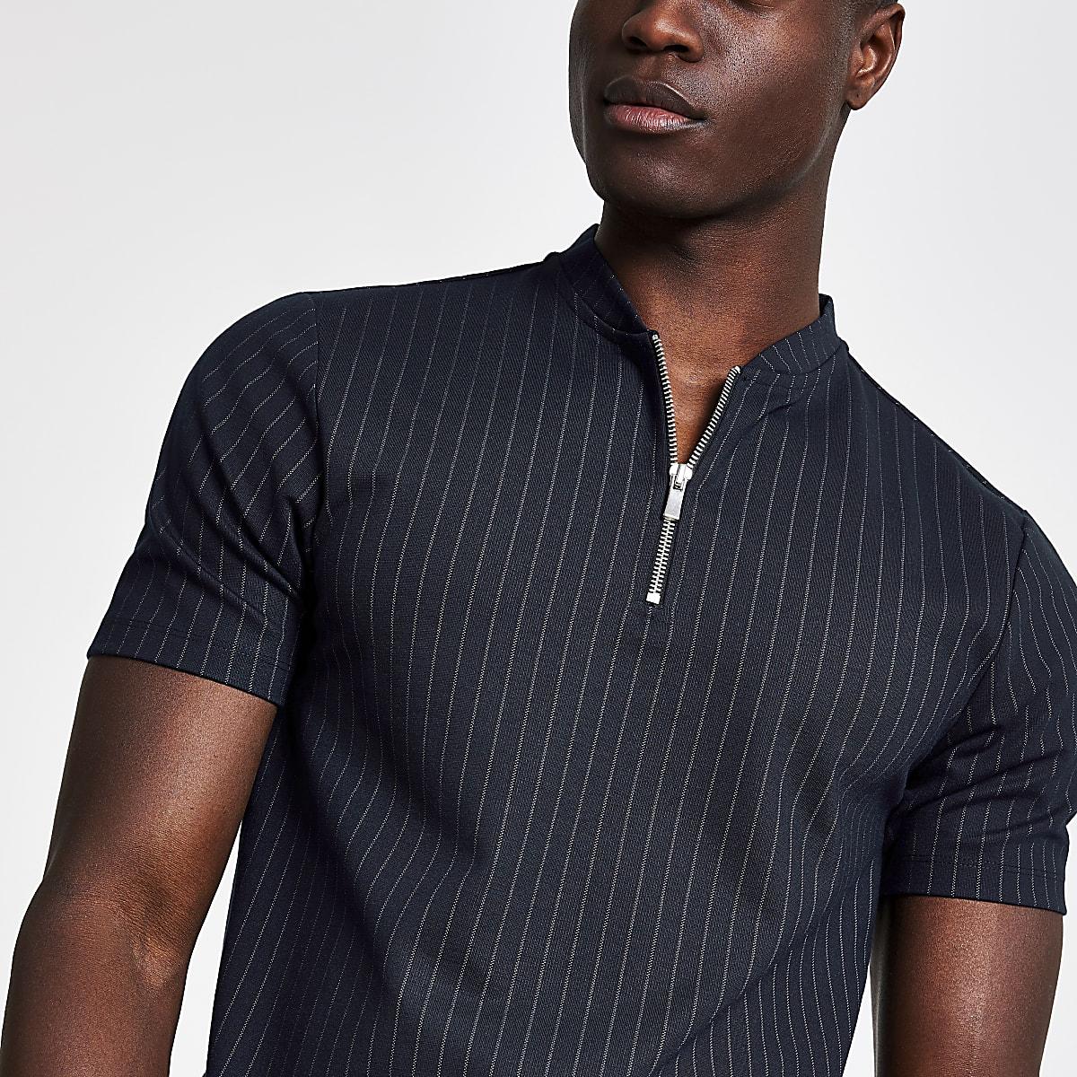 Navy pinstripe zip neck slim fit  polo shirt