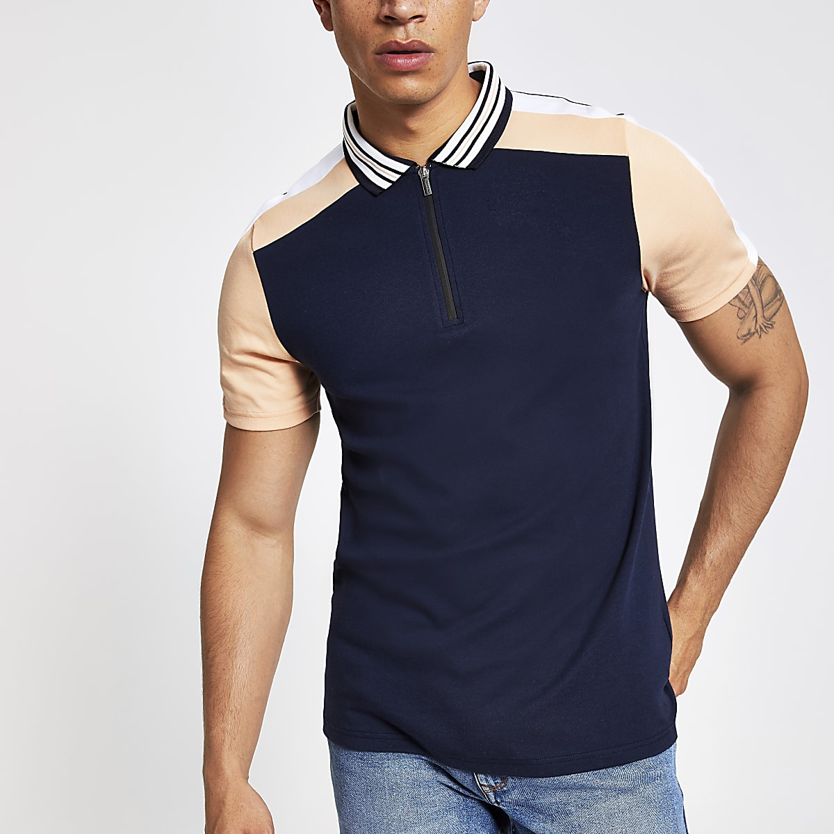 Navy block zip neck slim fit polo shirt