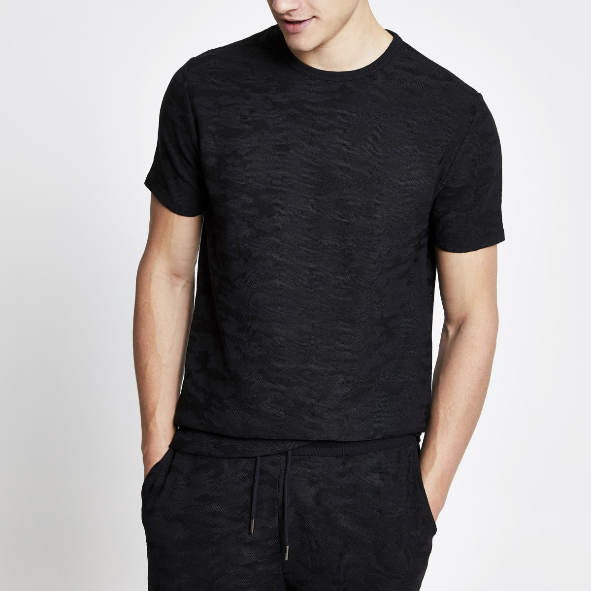 Zwart slim-fit T-shirt met textuur en camouflageprint