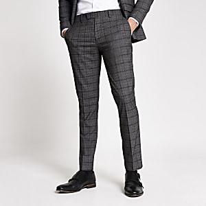 Pantalon de costume à carreaux gris foncé