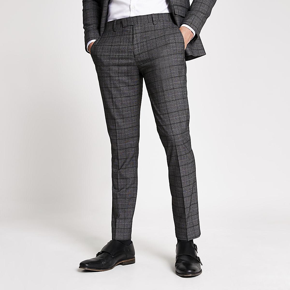 Pantalonsde costume skinny stretch à carreaux gris foncé