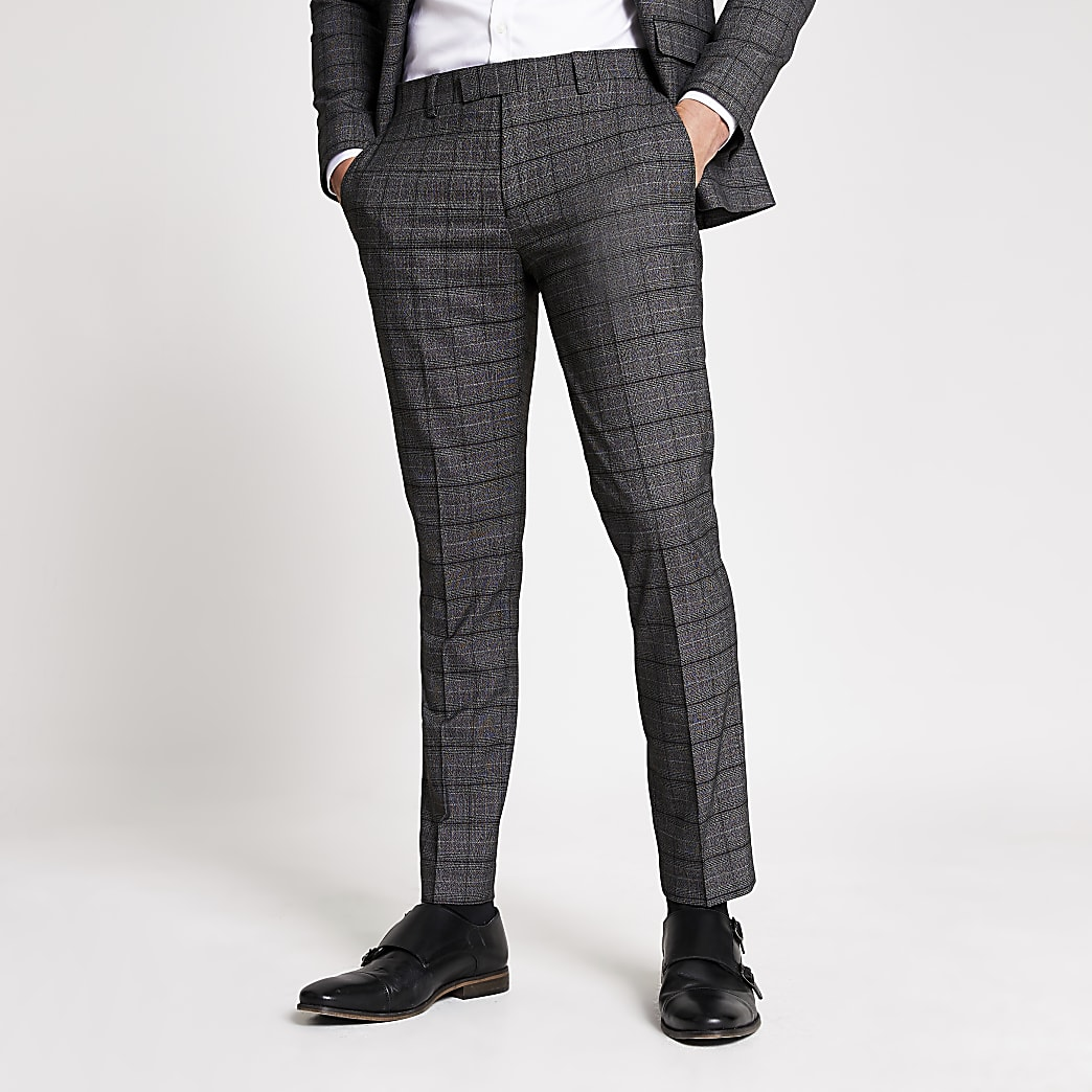 Dark grey check stretch skinny suit trousers