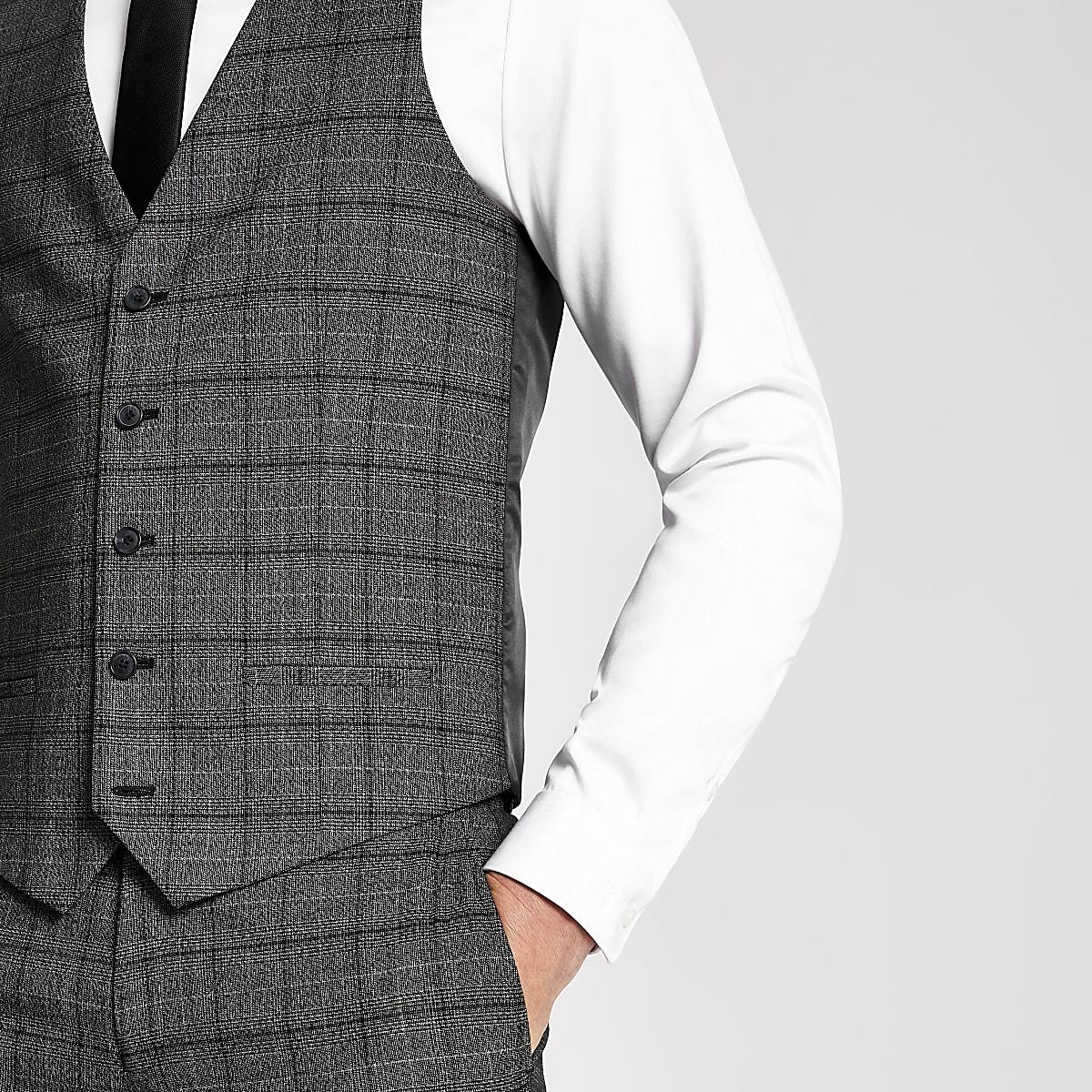 Dark grey check suit waistcoat
