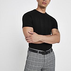 Zwart slim-fit geribbeld gebreid T-shirt