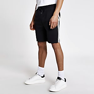 Black tape wasp embroidered slim fit shorts