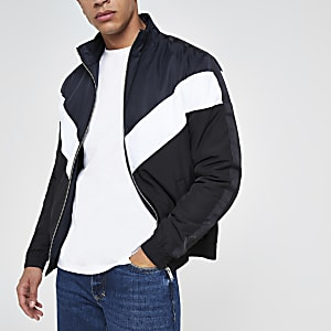 Navy chevron funnel neck padded jacket