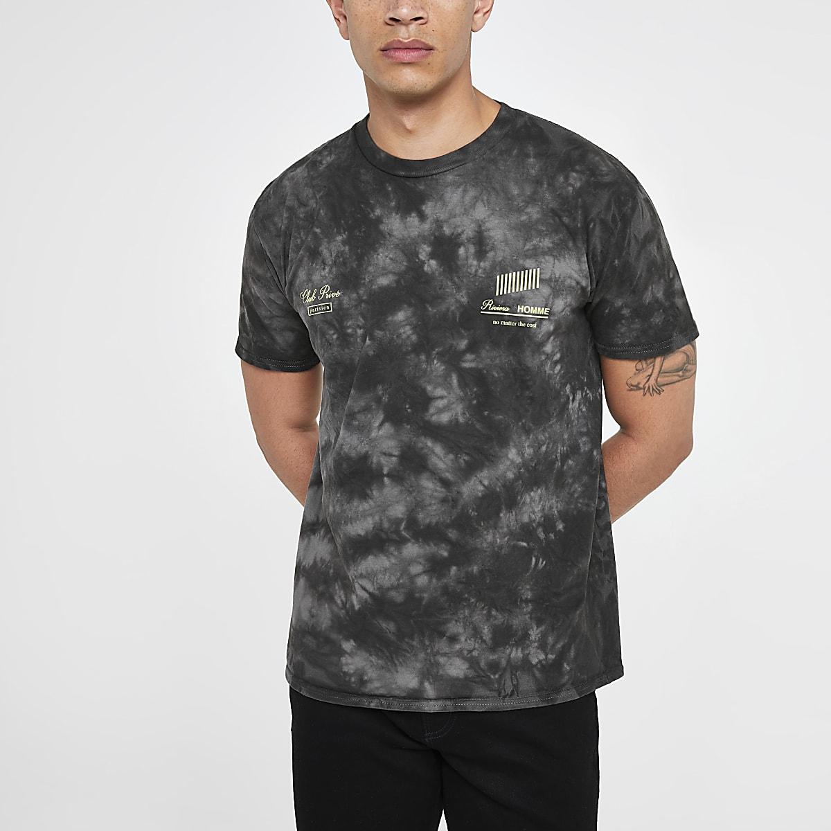 Grey tie dye neon print T-shirt
