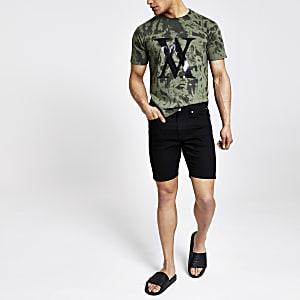 Khaki Batik-T-Shirt mit Rundhalsausschnitt