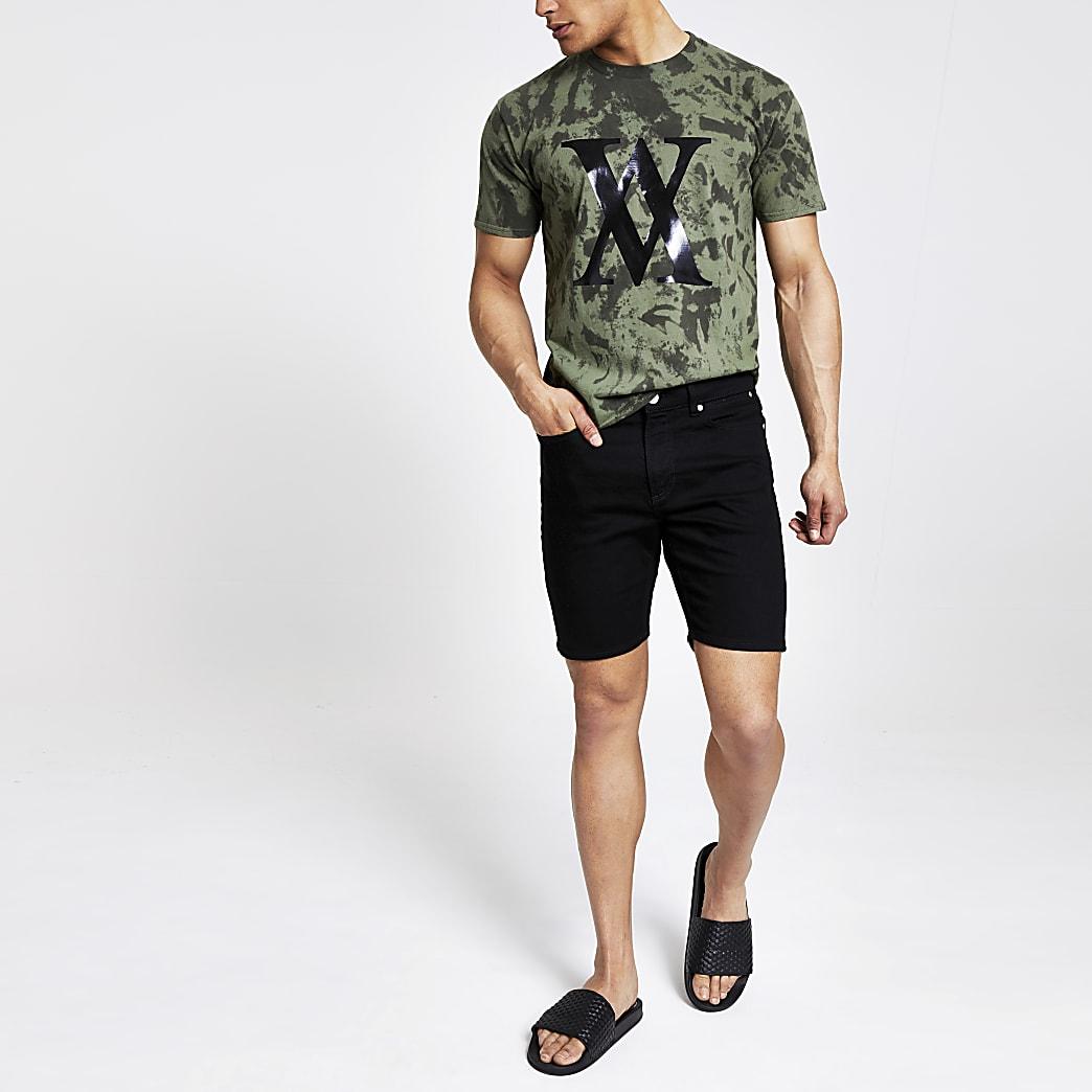 Kaki tie-dye T-shirt met ronde hals