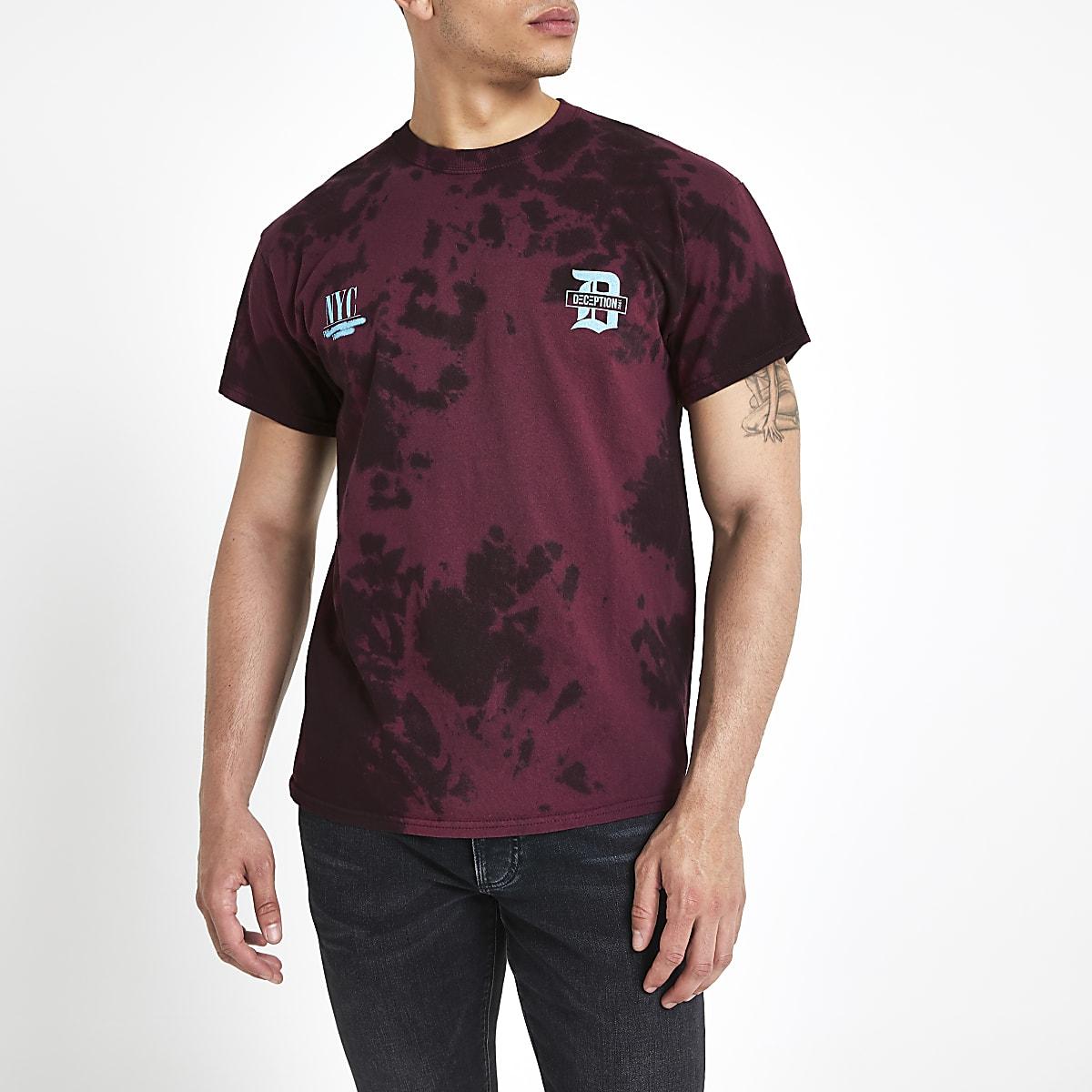 Burgundy tie dye T-shirt