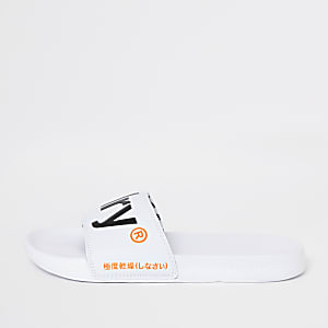 Superdry white sliders