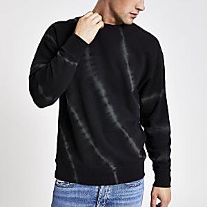 Zwart oversized tie-dye sweatshirt