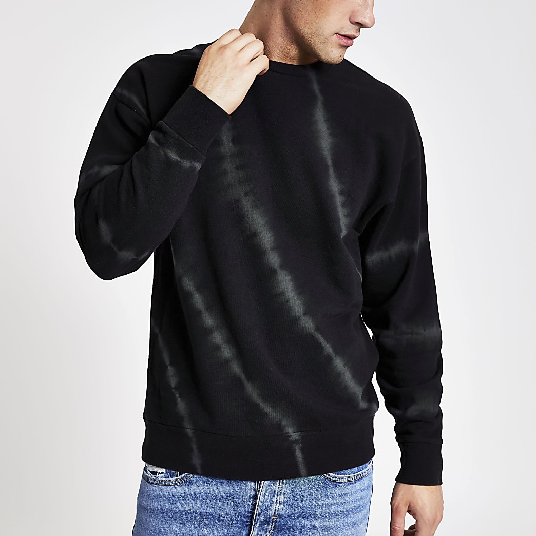 Sweat oversize noir effet tie and dye
