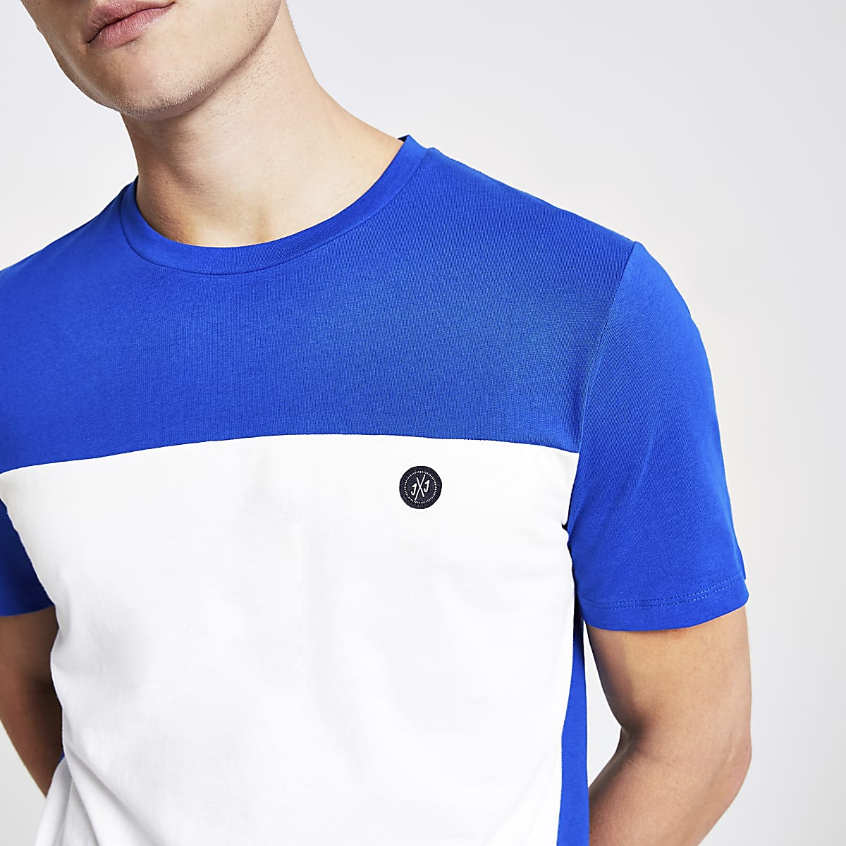 Jack and Jones blue block T-shirt