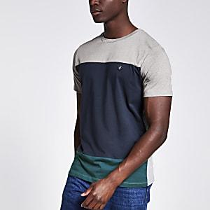 Jack and Jones - Grijs T-shirt met kleurvlakken