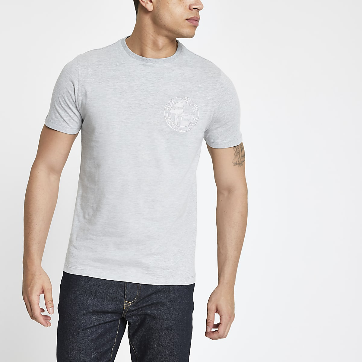 Grey 'Prolific' embroidered slim fit T-shirt