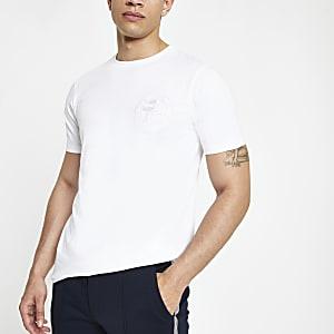 Wit slim-fit T-shirt met 'Prolific'-print