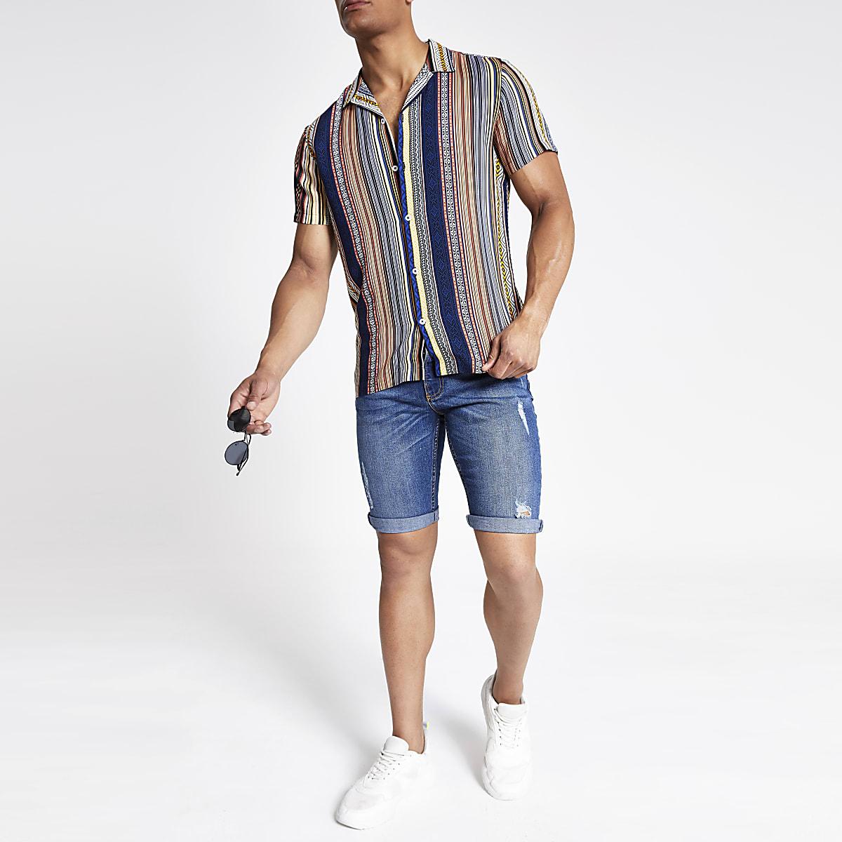 Orange aztec short sleeve shirt
