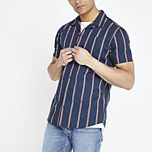 Jack and Jones - Marineblauw gestreept overhemd met korte mouwen