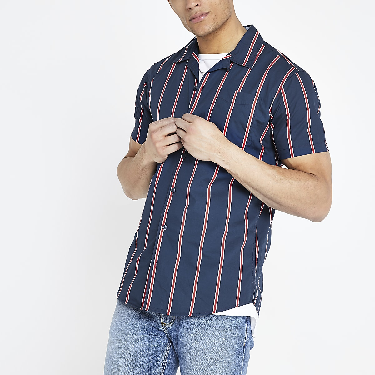 Jack and Jones navy stripe short sleeve shirt