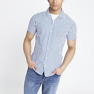 Jack & Jones – Blaues, gestreiftes Hemd