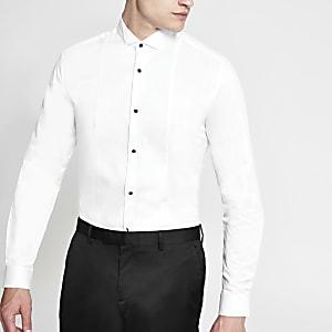 Wit slim-fit overhemd met opstaande kraag