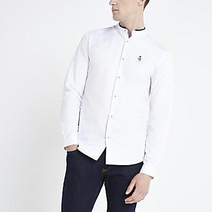 White RI grandad collar long sleeve shirt