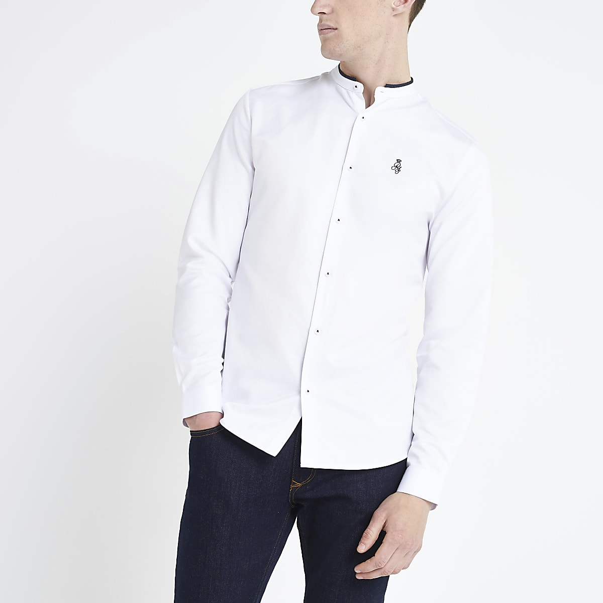 White RI grandad collar long sleeve shirt