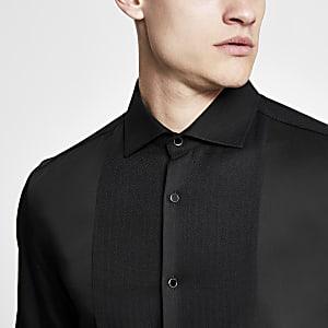 Zwart slim-fit overhemd met textuur