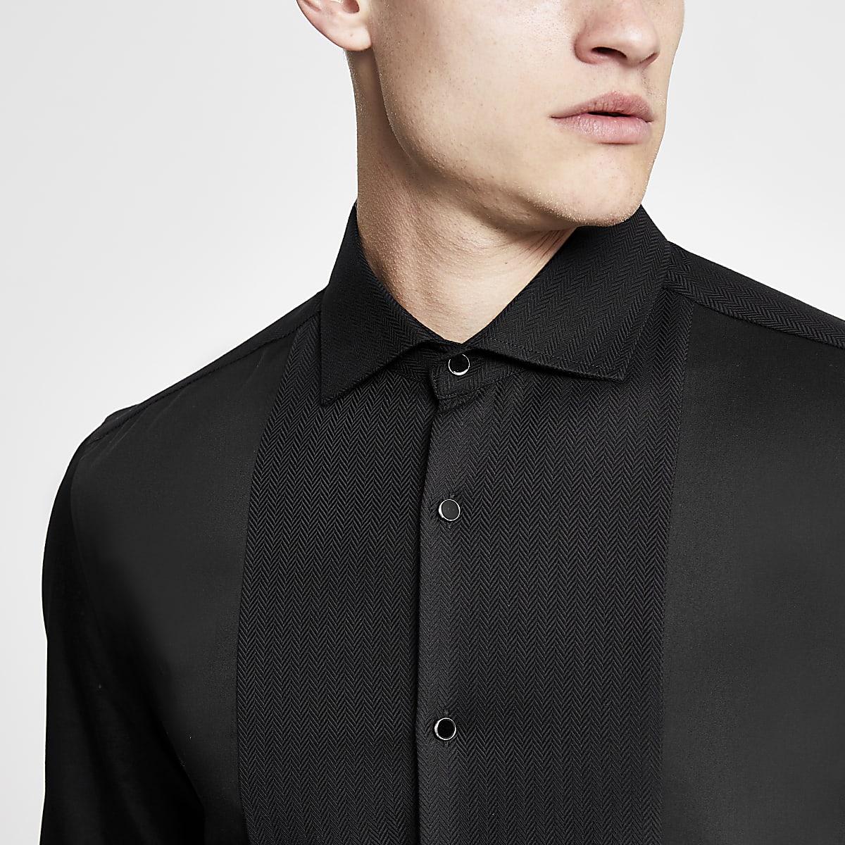 Black slim fit textured shirt
