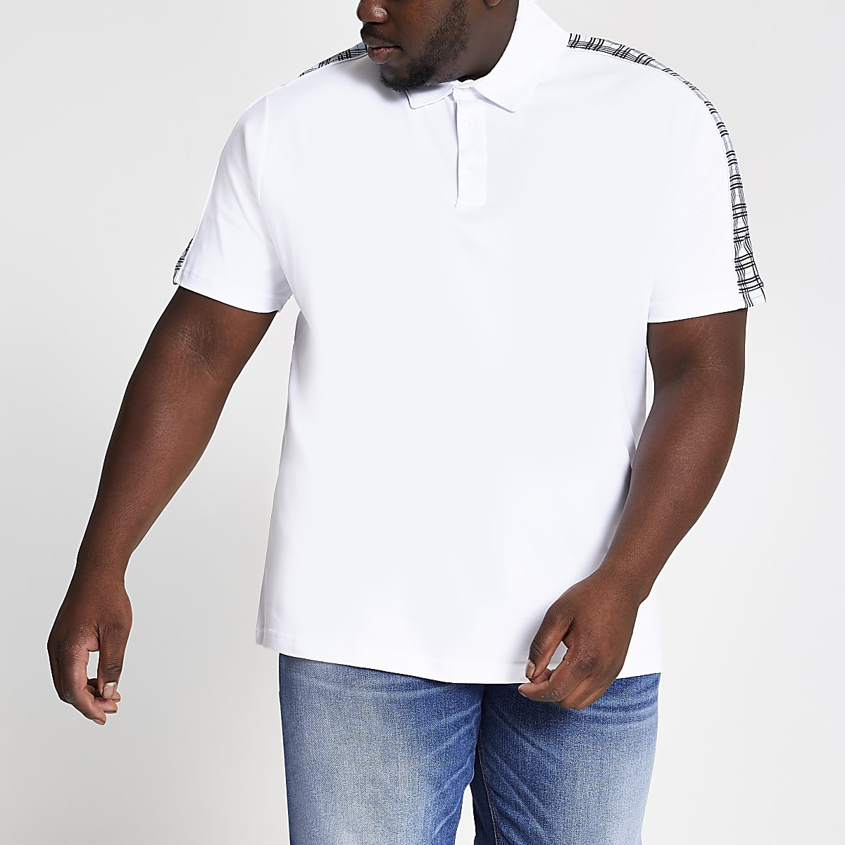 Big and Tall white check slim fit polo shirt