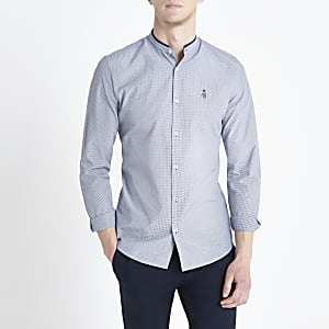 Chemise slim RI bleu marine à carreaux vichy et col grand-père