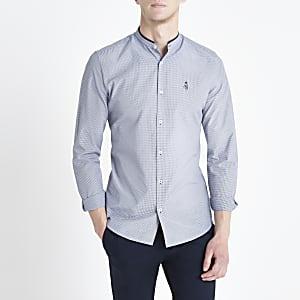 Marineblauw slim-fit overhemd met gingham-ruit zonder kraag