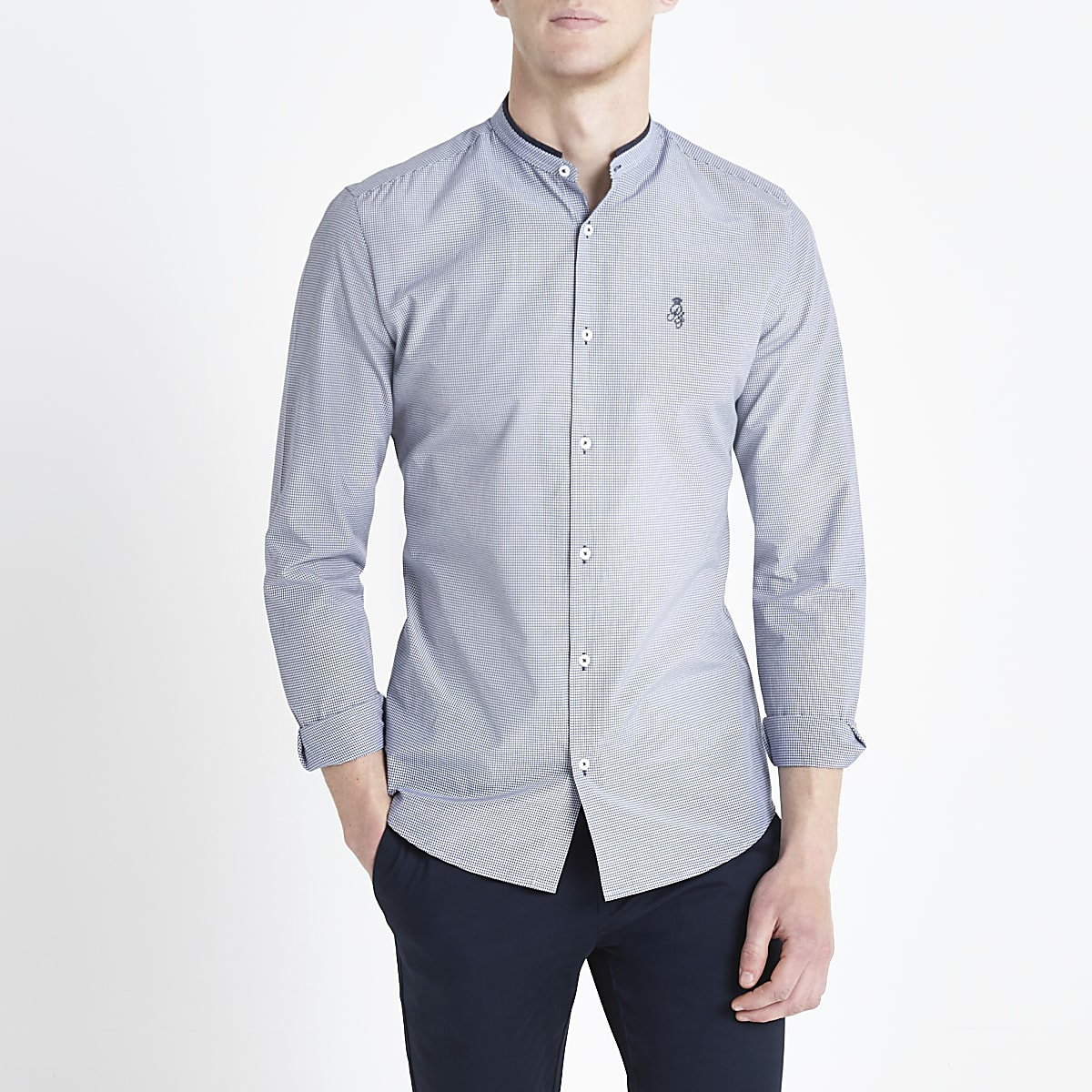 Navy gingham RI slim fit grandad collar shirt