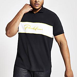 Big and Tall - Marineblauw T-shirt met 'Prolific'-print en rits aan de hals
